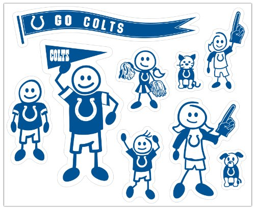 Nfl Indianapolis Colts Decal - Siskiyou NFL Indianapolis Colts Large Family Decal Set
