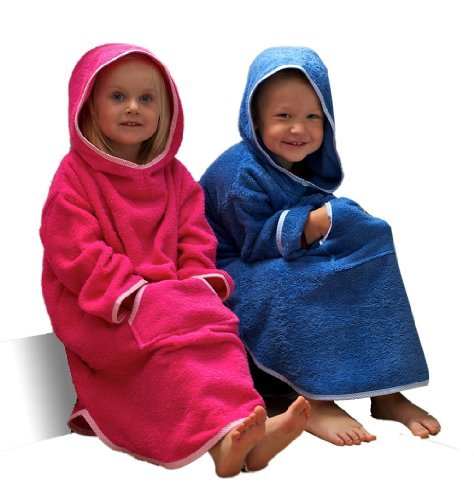 Childrens Hooded Ponchos Age 6 to 7 in Pink, 100% Cotton by Towelsrus