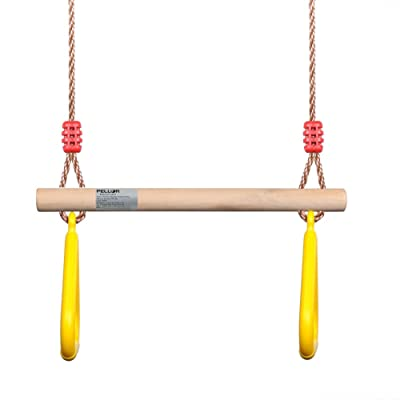 PELLOR Playground Children's Wooden Trapeze Swing Bar with Plastic Gym Rings for Indoor Outdoor Fun: Toys & Games