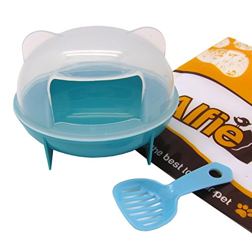 (Alfie Pet - Small Animal Rejas Bathroom House with Scoop Set for Mouse, Chinchilla, Rat, Gerbil and Dwarf Hamster - Color: Blue)