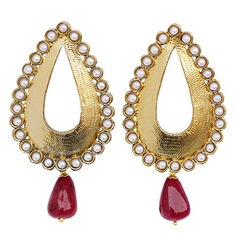 Indian bollywood neatly cut metal with faux pearls wall designer jewelry earrings (Metal Faux Pearl)