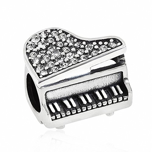 ABUN Music Piano Charms 925 Sterling Silver Birthstone Crystal Charms for 3mm Snake Chain Bracelets (Clear)