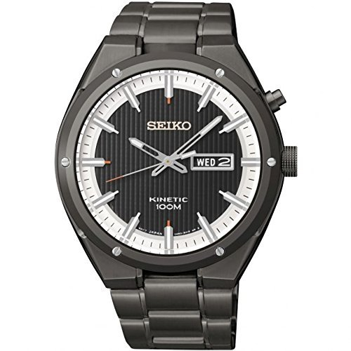 Seiko Kinetic Reloj para Hombre bañada en Negro y Blanco Dial Negro SMY153 por Seiko Relojes