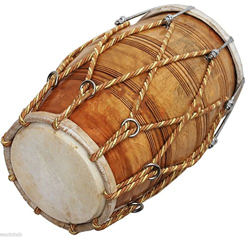 SPECIAL DHOLAK DRUM ROPE + BOLT TUNED~NATURAL WOOD COLOR POLISH~HAND MADE INDIAN by SAI MUSICAL