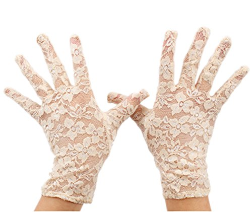 Color Lace Gloves (VIVIANSBRIDAL Women's 2015 Short Elegant Lace Wedding Gloves, Champagne)