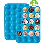 2 Pack Silicone Muffin Pan,24 Cups Mini Muffin Molds,Non Stick Cupcake Baking Pan,Cupcake Mold Cookies Molds Bakeware Tin,Silicone Muffin Tins,Blue
