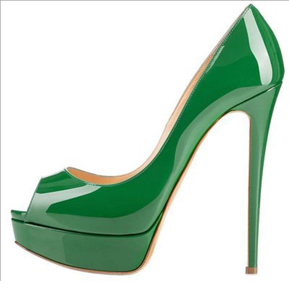 JIANFCR Frauen Schuhe Candy Farbe High Heels Fisch Mund High Heels Wasserdichte Plattform Abendkleid Mode Schuhe Hochzeit Schuhe Frühling und Sommer große Größe Optional (Farbe   Grün, Größe   35)