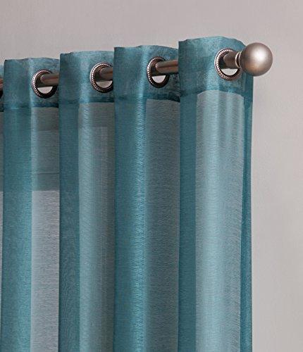 "LinenZone Karina - Semi-Sheer Window Scarf (54 x 144) - Elegant Home Decor Window Treatments - Add to Window Curtains for Enhanced Effect (1 Scarf 54\"" x 144\"", Sea Green)"