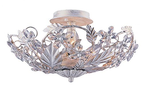 Antique White Abbie 6 Light Crystal Semi-Flush Ceiling Fixture With Hand-Cut Crystal Accents