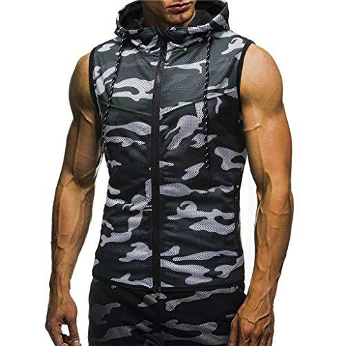 Misaky Men's Summer Camouflage Hoodie Hooded Sleeveless T-shirt Top Hunting Shirt Active Shirts ...