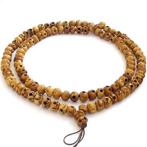 OVALBUY Tibetan Ox Bone 108 Beads Skull Buddhist Prayer Mala ()