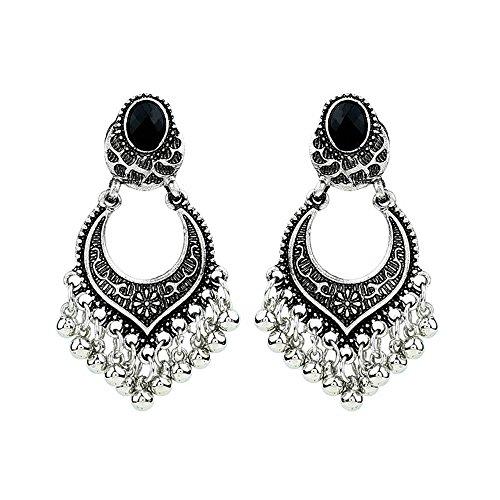 Floral Pendant Clip Earrings - Indian Bollywood Jewelry Gold Plated Wedding Wear Traditional Earrings Vintage Mandala Flower Drop Dangle Earrings for Women Girl Tribal Hollow Floral Pendant Earring Clips (Silver)