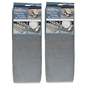 Envision Home Microfiber Dish Drying Mat, 16 by 18-Inch, Gray - 2 Pack