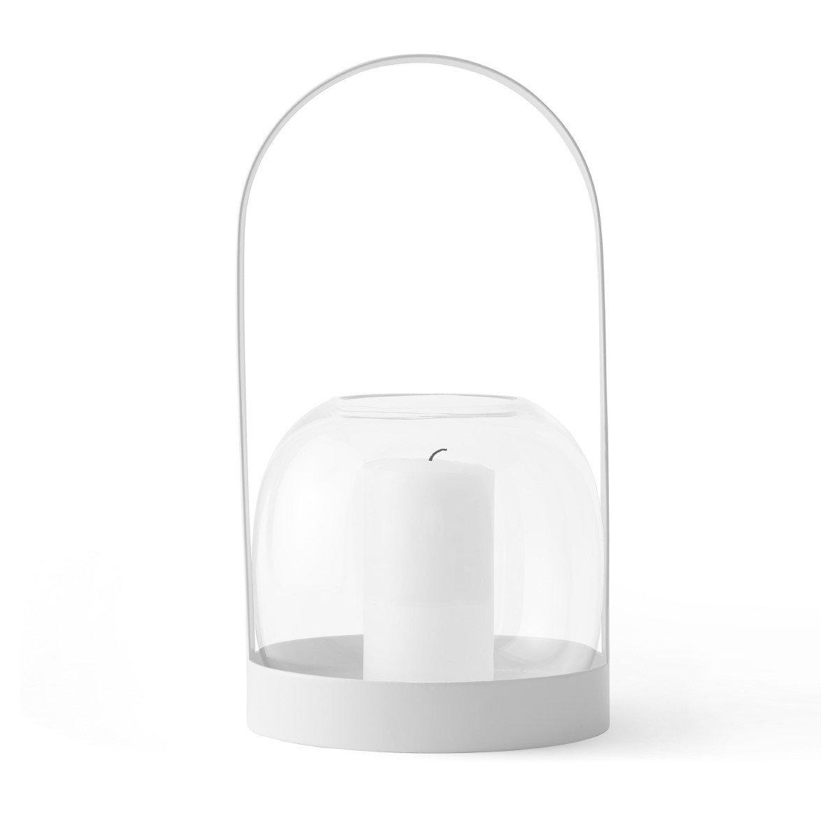 Portavelas jarrón decorativo con asa, estilo minimalista