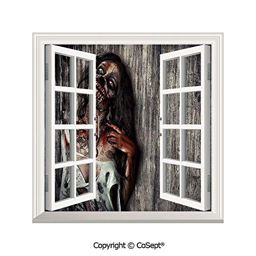 SCOXIXI Open Window Wall Mural,Angry Dead Woman Sacrifice Fantasy Mystic Night Halloween Image Decorative,for Living Room(25.86x22.63 inch) -