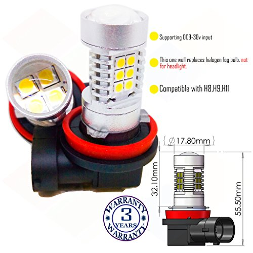 Wiseshine H11 led fog light bulb DC9-30v 3 years quality assurance (pack of...