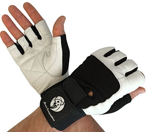 Muscle Composition Gym Gloves with Wrist Support for Gym Workout, Crossfit,Weightlifting Black/White. Premium Quality Materials. (Black/White, Large) -