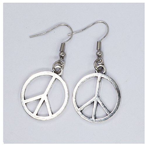 Hippie Peace Sign Necklace And Earrings (Peace earrings, silver peace earrings,peace jewellery,handmade,peace charm,CND, hippie, 60's, small peace earrings, peace dropper earrings)