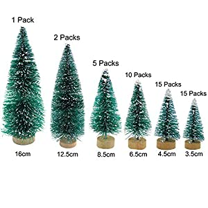 Grosun 48 Pieces Artificial Mini Christmas Trees Mini Pine Tree with Wood Base Tabletop Trees Snow Ornaments for Christmas Party Home Decoration 2