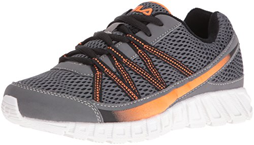 Flicker Rocks - Fila Boys' Flicker Skate Shoe, Castle Rock/Black/Vibrant Orange, 6 M US Big Kid
