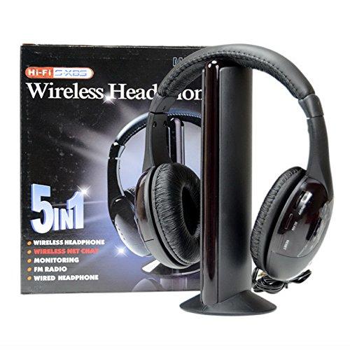 Wireless Headphone Earphone Black Radio