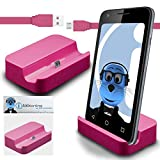 iTALKonline LG G Stylo G4 Stylus Pink Micro USB Sync & Charge / Charging Desktop Dock Stand Charger with 1.2 meter FLAT USB to MicroUSB Sync and Charge Cable