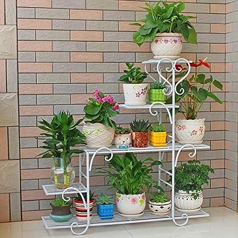 ZRHJ Robuste Interieur Fer Forg/é Porte Plante,4 Couches Balcon /Étag/ère /à Fleurs de Niveaux Support de Pot de Fleurs pour Jardin Terrasse Porte Fleurs