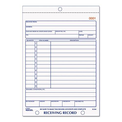 - Rediform 2L260 Receiving Record Book 5 1/2 x 7 7/8 Three-Part Carbonless 50 Sets/Book