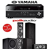 Yamaha RX-V681BL 7.2-Channel 4K Network A/V Receiver + Polk Audio TSi 500 + Polk Audio TSi 200 + Polk Audio CS10 + Polk Audio PSW108 - 5.1 Home Theater Package