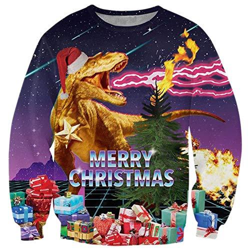 (RAISEVERN Unisex Ugly Christmas Dinosaur Sweater Christmas Tree Decoration Funny Hipster Crewneck Xmas Pullover)