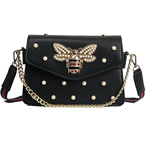 Women Messenger Bags Little bee Handbags crossbody bags Shoulder Bags Designer Handbags with pearl (Designer Pearl)