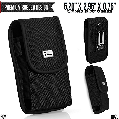 Micromax X1i Reloaded Belt Pouch, TMAN [Large Rugged Canvas Vertical] with Otterbox, Lifeproof, Battery Case on - Metal Clip Holster / Hook Loop Closure Cover with Belt - Release Reloaded