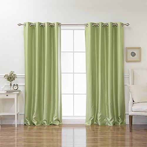(Best Home Fashion Sage Dupioni Faux Silk Grommet Top Blackout Curtain 72