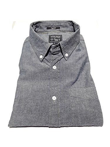 Chambray 3789 Lunga Taschino Wocam0573 Woolrich Button Fit Vintage Uomo Denim Camicia Manica Con Regular Down Shirt In Cotone qEB66Hn5