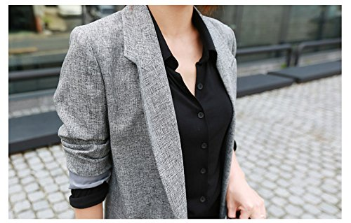 Lingswallow Womens Classic Drape Lapel Open Front Long Jacket Blazer Trench Coat, Grey, Tag Size XXL=US 10 Photo #3