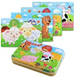BBLIKE 4 in 1 Jigsaw Wooden Puzzles Toy in a Tin Box for Kids,56pcs Varying Degree of Difficulty Educational Tool Best Birthday Present for Boys Girls (Sheep, Dog, Cow, Pig)