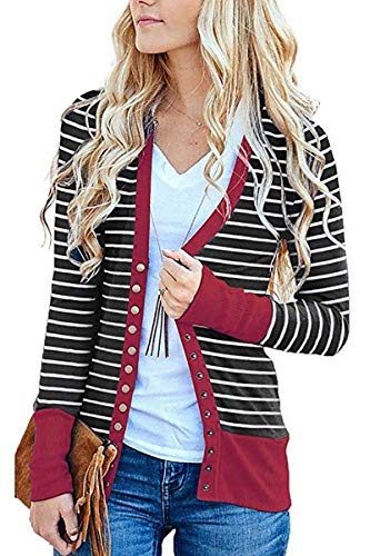 (FAFOFA Women V Neck Sweater Top Stripe Long Sleeve Snap Button Down Casual Ribbed Cardigan Knitwear Wine L)