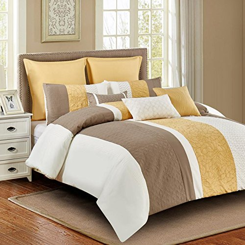 Wonder Home 8 Piece Luxury King Yellow Bedding Set, Embroidered Oversized Comforter with Elegant Shams & Pillows , (Gold Reversible Comforter)