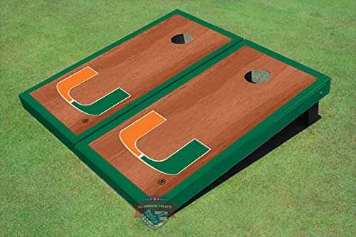 University of Miami Green Rosewood Matching Borders Cornhole Boards by All American Tailgate (Image #2)