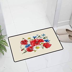 Flowers Indoor Outdoor Decorative Floor Mat Office Door Mat Vintage Watercolor Bouquet of Wildflowers Poppies Daisies Cornflowers Butterflies Easy to Clean, 29.5 x 18 inch Multicolor