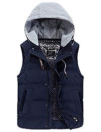 Men's Cotton Puffer Hooded Vest Zipper Thickened Sleeveless Jacket Dark Blue