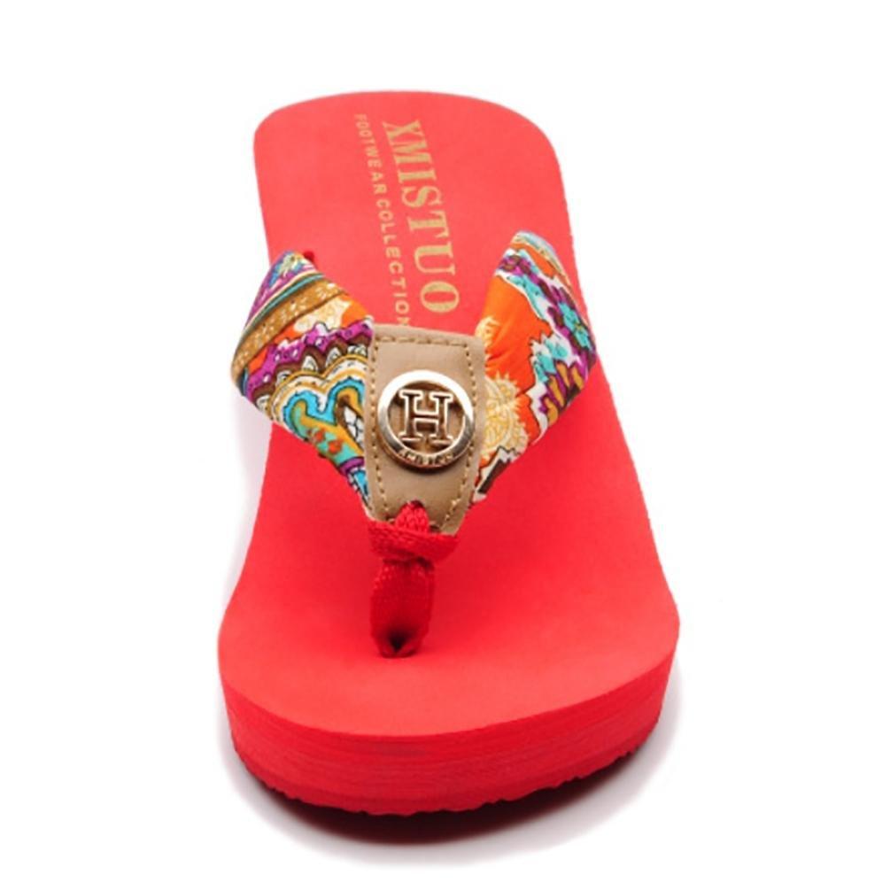 SHANGXIAN zapatillas antideslizantes de tacón alto de las mujeres de la cuña de la sandalia , coffee , 35