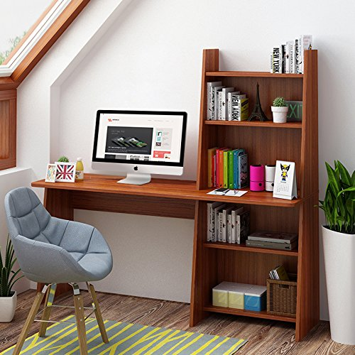 Amazon Tribesigns Computer Desk With Shelf 59 Wooden Writing Study Table Workstation For Home Office Adjustable Bookcase Design Kitchen