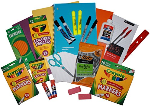 Bright Colored Back To School Supply Essentials Bundle - Kindergarten Through 8th Grade