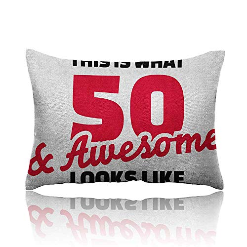 - Anyangeight 50th Birthday Pillowcase Fifty and Awesome Cool and Fun Hand Written Style Happy Cheer Slogan Travel Pillowcase 16