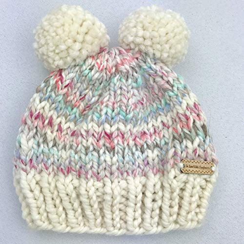 f6904ed95b1 Amazon.com  Double Pom Pom Beanie For Baby Girl - Handmade with Chunky yarn  in Pastel colors  Handmade