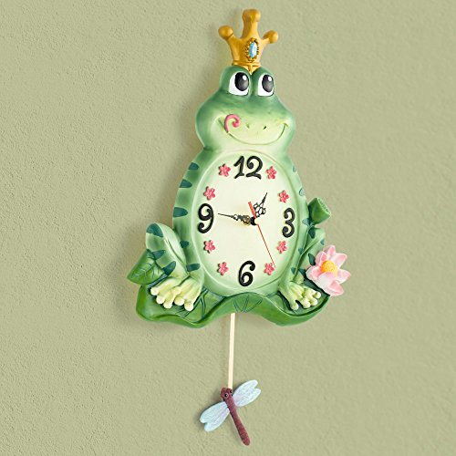 TOYM- Creative Fashion Modern European Kids Room Clock Resin Silent Frog Prince Wall (Frog Prince Clock)