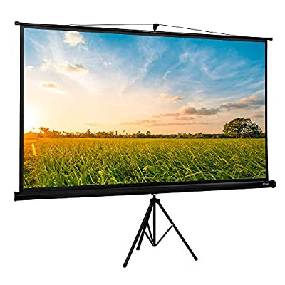 """ShowMaven 100"""" Projector Screen with Stand, Portable Indoor Outdoor 16:9 4K HD Adjustable Projection Screen, 1.3Gain with Premium Wrinkle -Free Design"""