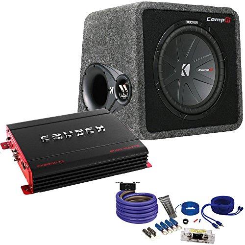 Kicker40vcwr122 Comp R Subwoofer Box, Crunch PX2000.1D 2000 Watt Max Mono Amp, Amp wire Kit