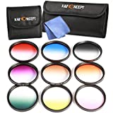 52MM Graduated Color, K&F Concept 9pcs Graduated Filter Set Orange Blue Grey Red Purple Green Brown Yellow Pink + Cleaning Cloth